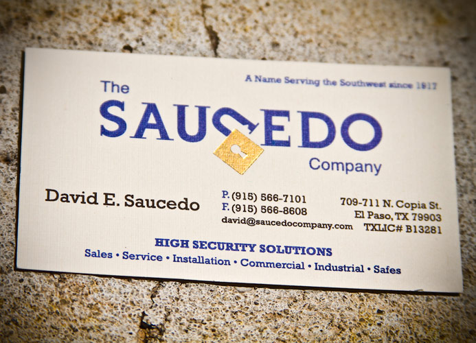 Our history the saucedo company el paso locksmith 2010 the saucedo company rebrands with a new logo business cards and website reheart Image collections